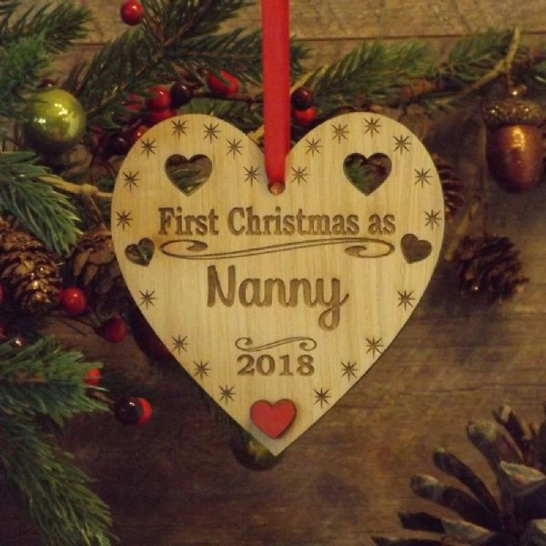 First Christmas as Nanny Nanna Auntie Personalised Heart Decoration Gift